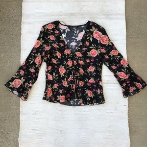 NWT Zara black floral long sleeve v neck blouse